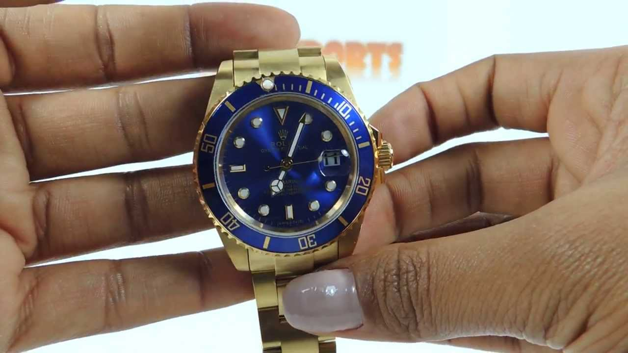 8219fd2d49c Relógio Rolex Submariner Azul Dourado Das Imports - YouTube