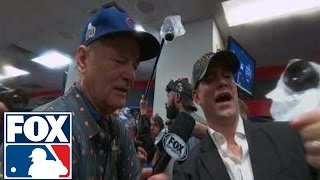 Bill Murray celebrates World Series win in Cubs locker room | 2016 WORLD SERIES ON FOX