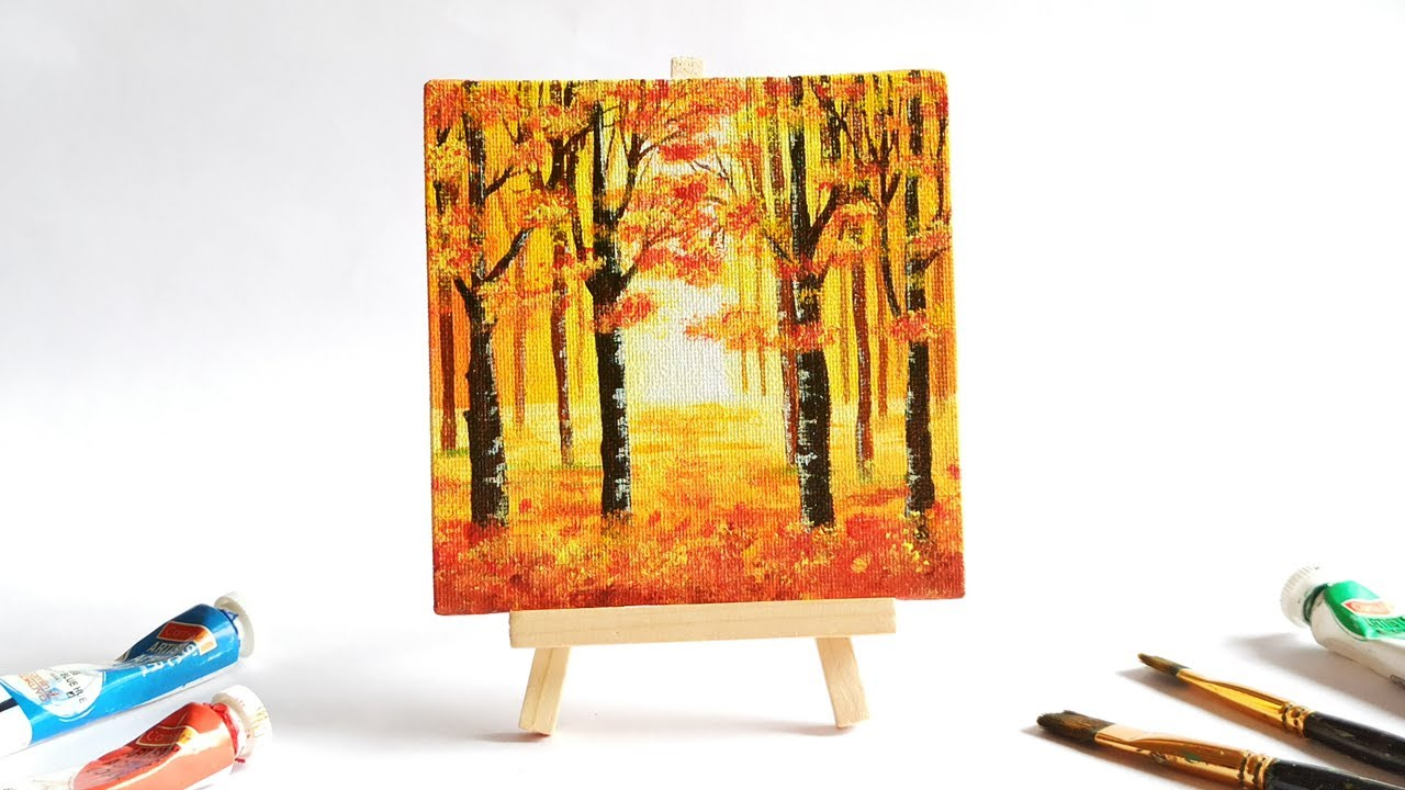 Autumn Acrylic Painting For Beginners Step By Easy Mini Canvas Tutorial Youtube