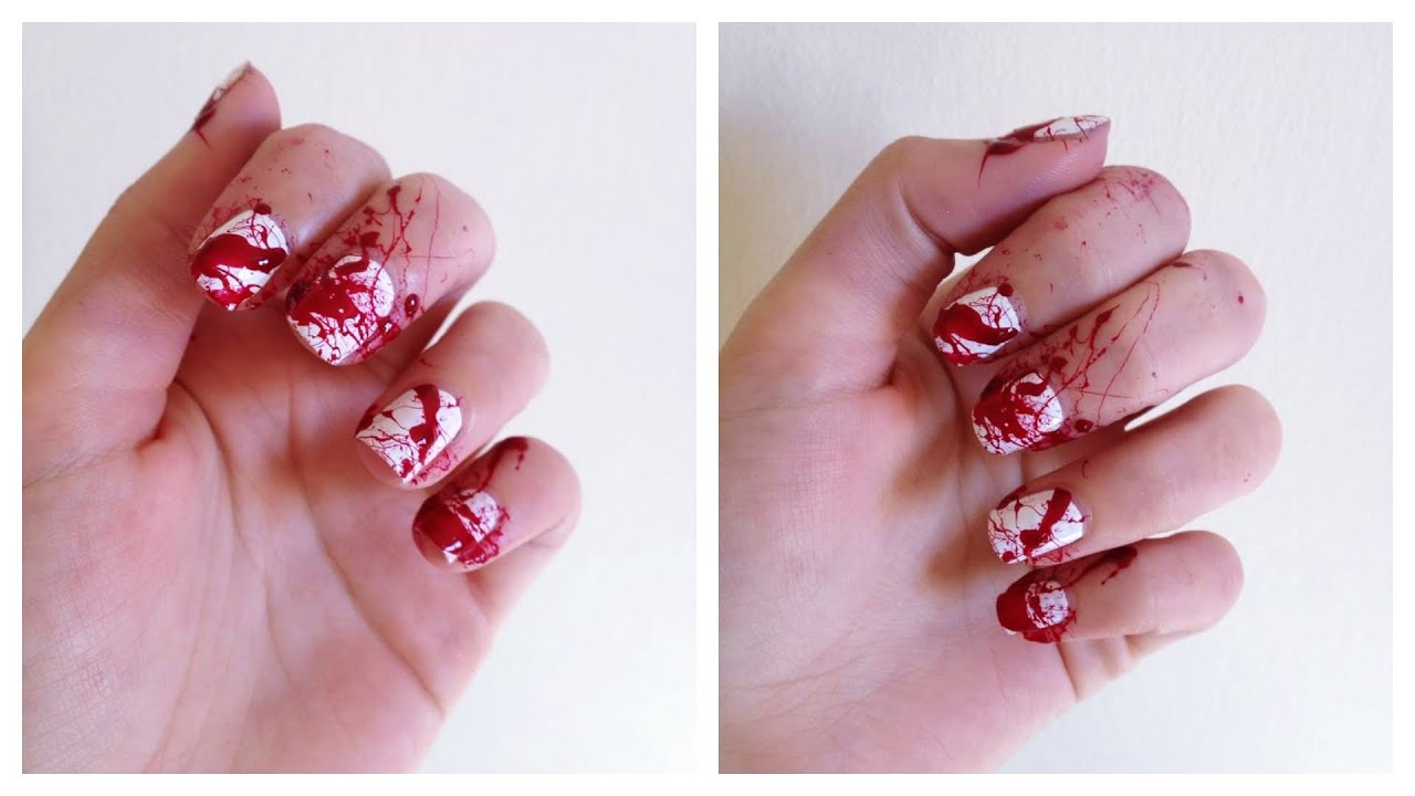 photo nail art halloween sang