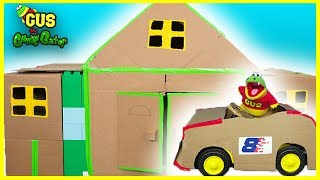 Billionaire box fort mansion and Tow Truck Car Shop!