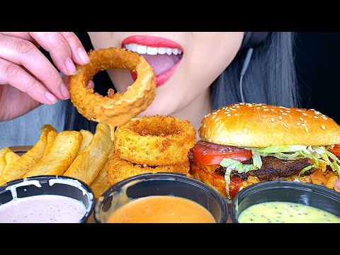 ASMR FRIED ONION RINGS, CHEESEBURGER & FRENCH FRIES (MOUTH Eating Sounds) *NO TALKING* | ASMR Phan