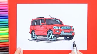 How to draw and color Mahindra Scorpio car