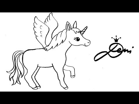 Pferd, Einhorn, Pegasus schnell zeichnen lernen – How to draw an unicorn for children – girls