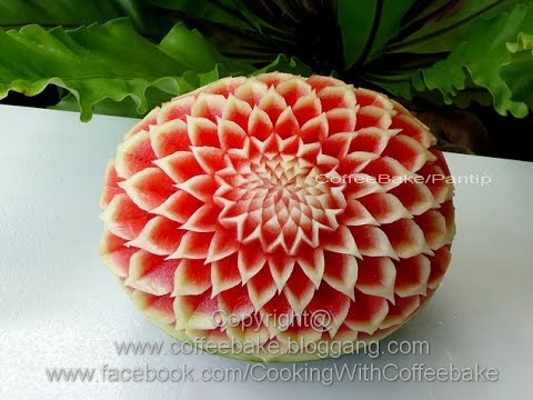 Simple Watermelon Carving dahlia flower # 9,แกะสลักแตงโมลายดอกรักเร่ อย่างง่าย แบบที่ 9,