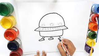 How to draw a UFO for kids   UFO in Space coloring and drawing Learn Colors for kids