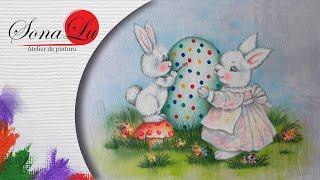 Coelha com Filhote em Tecido ( Parte 1) Sonalupinturas