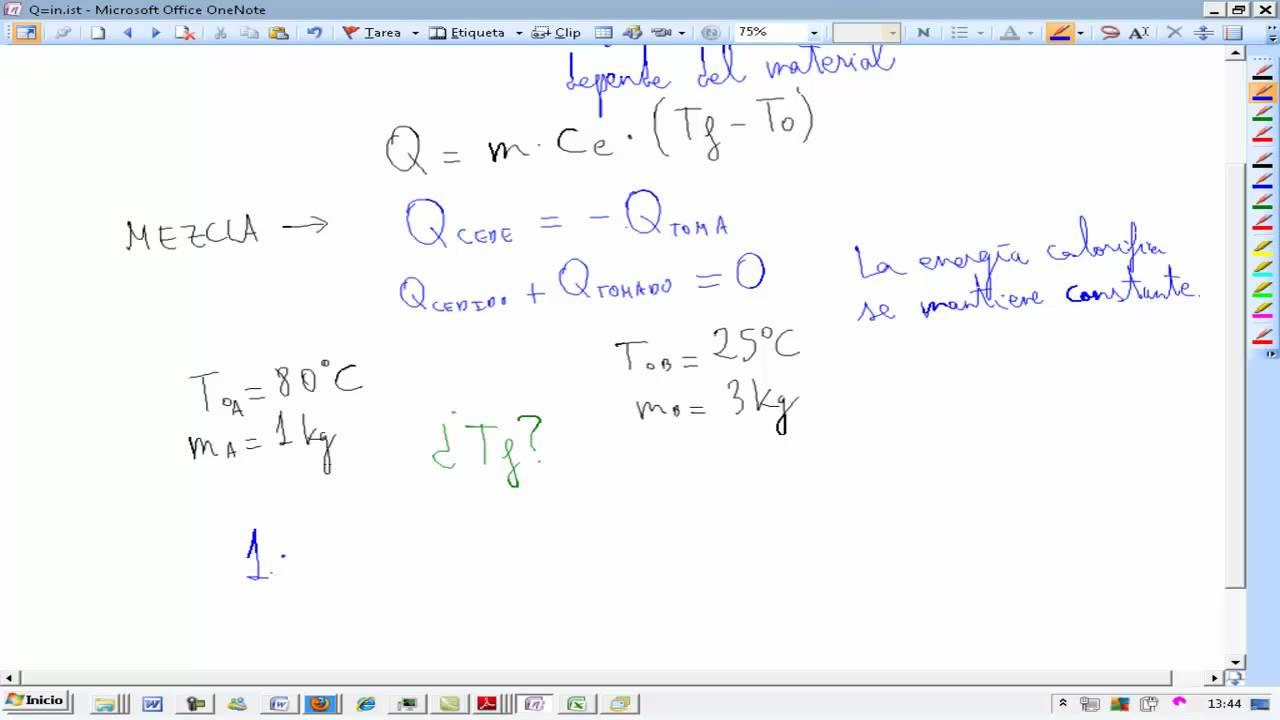 Energía térmica y calor Mezcla de líquidos a distinta temperatura ...