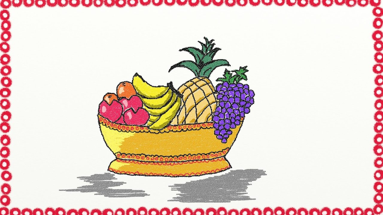 Drawing a simple fruit basket | How to draw a fruit basket ...