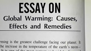 Essay on global warming:causes,effects,remedies in english language.