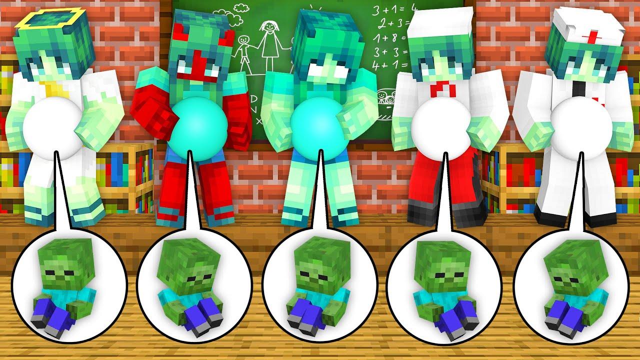 Monster School: How Many Zombie Girl Born Baby Birth Family Life Story - Minecraft Animation