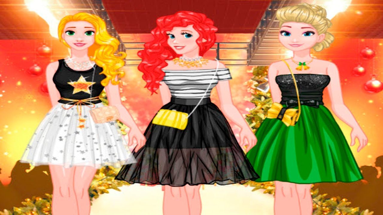 Princesses New Year Fashion Show Elsa Rapunzel Ariel Dress Up Game Online For Girls Youtube