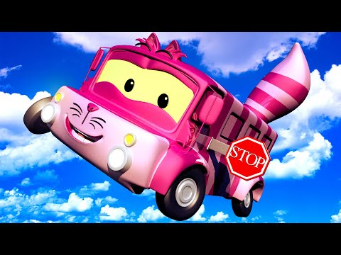 Lily the BUS is the CHESHIRE CAT from Alice in Wonderland! Tom's Paint Shop in Car City Cartoons