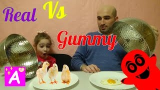 real food vs gymmy challenge kids react Обычная Еда против Мармелада real vs gummy