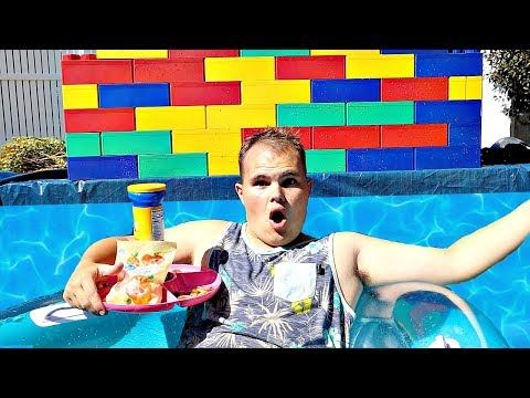 24 Hours In A GIANT LEGO POOL!