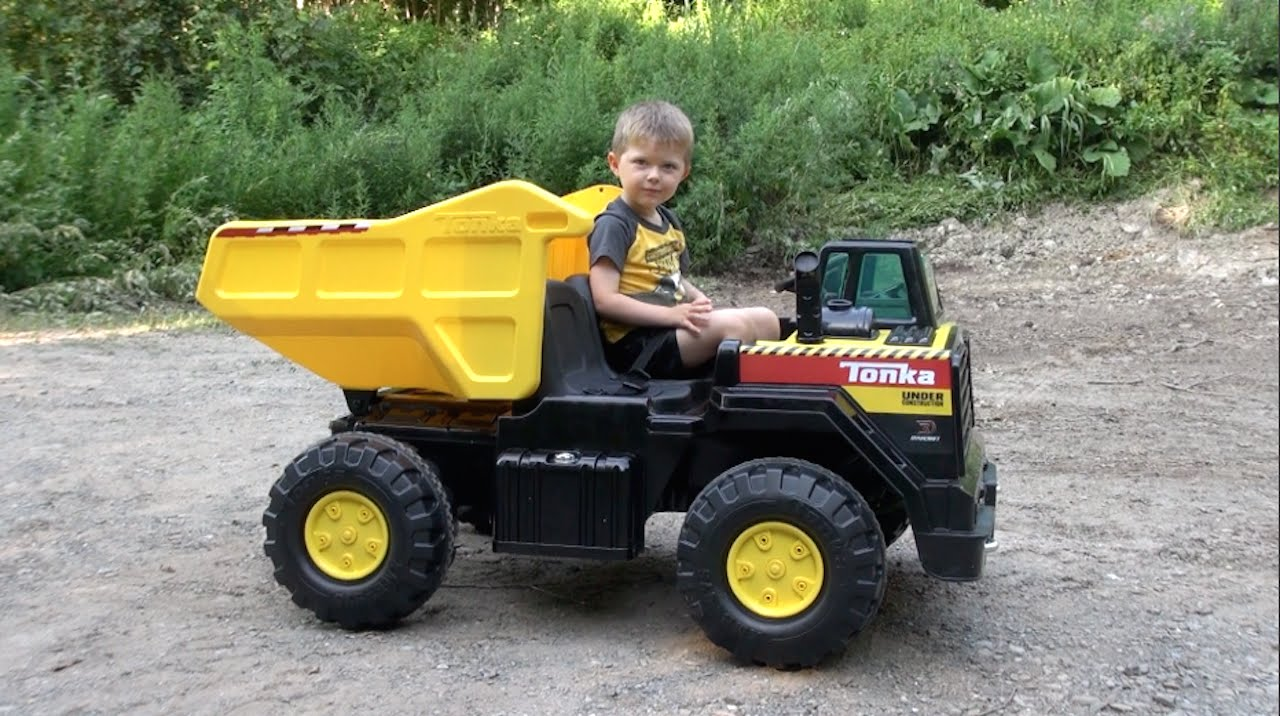 Tonka Ride On Mighty Dump Truck For Kids Youtube