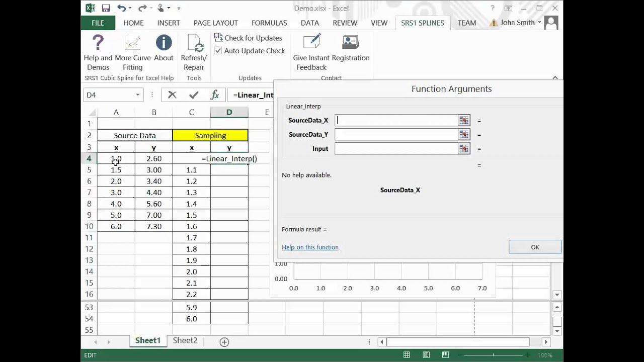 Spline Interpolations in Microsoft Excel For Free