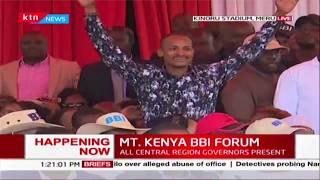Babu Owino cheered after Kanini Kega introduces him during MT. KENYA BBI FORUM