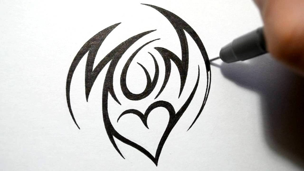 512ec082c How to Draw Mom - Tribal Tattoo Design Style - YouTube