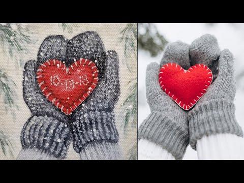 Winter Mittens w/ Heart Christmas Ornament Acrylic ...