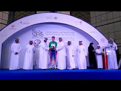 Oleksandr Golovash awarded green jersey after 2016 Sharjah Tour Stage 1
