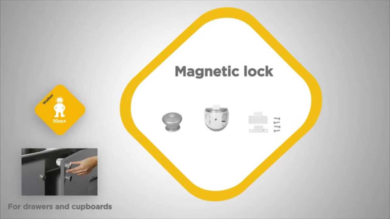 video installation safety1st bloque placard magnetique. Black Bedroom Furniture Sets. Home Design Ideas