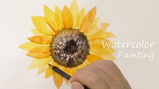 Watercolor Sunflower Painting …