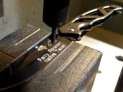 Haas Cnc Mill Engraving On A Gerber Knife Blade Using A