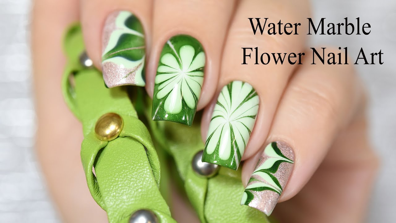 Water marble flower nail art youtube prinsesfo Gallery