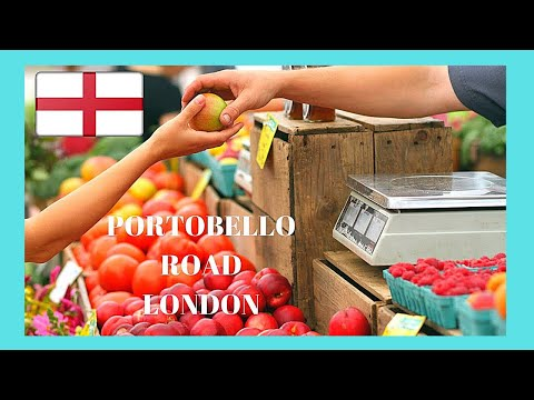 LONDON, the famous PORTOBELLO ROAD vegetable and food MARKET, ENGLAND