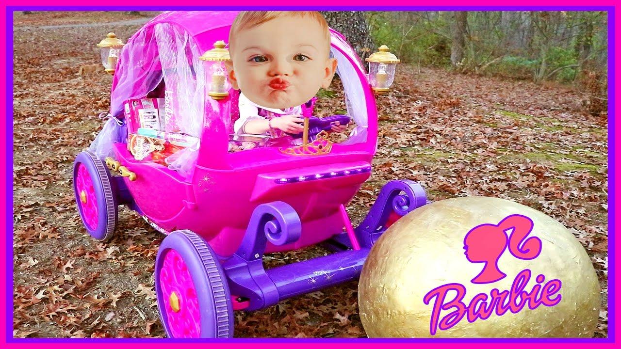 07083f0e1d4 Power Wheels 24V Disney Princess Carriage Surprise Barbie Egg   American  Girl Bitty Baby - YouTube