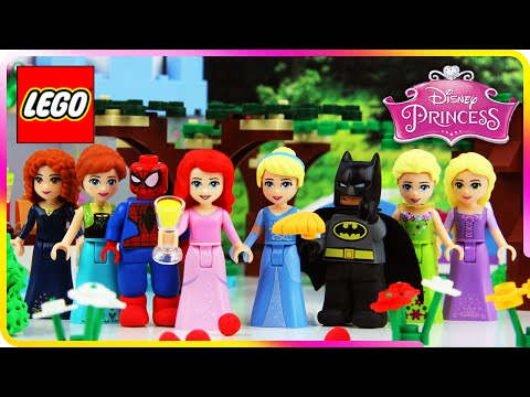 ♥ LEGO Disney Princess Cinderella & Ariel BBQ WITH FRIENDS (Spiderman, Batman, Frozen...)