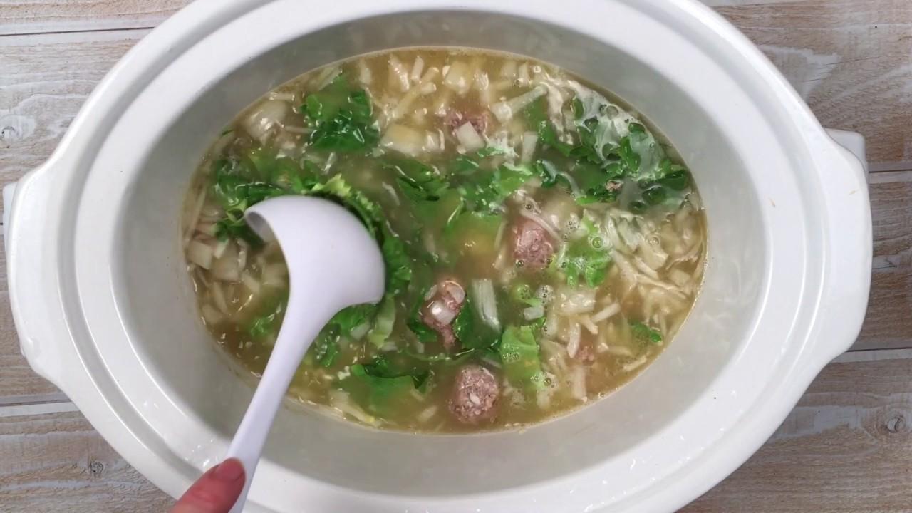 Crockpot Italian Wedding Soup - YouTube