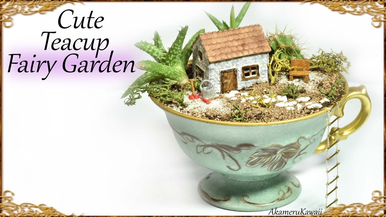 Cute DIY Tea Cup Fairy Garden - Miniature Craft Tutorial - YouTube