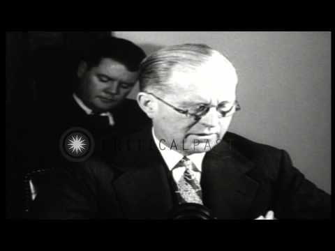 Joseph Kennedy speaks in favor of keeping United States out of World War II durin...HD Stock Footage