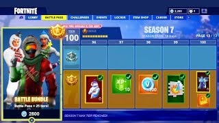 "TUTTI ""FORTNITE SEASON 7 BATTLE PASS"" SKINS & REWARDS! (NUOVO FORTNITE SEASON 7 MAX BATTAGLIA PASSA UNLOCKS)"