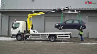 Recovery DAF truck lifting car by crane - Hyva Crane Car Recovery Application