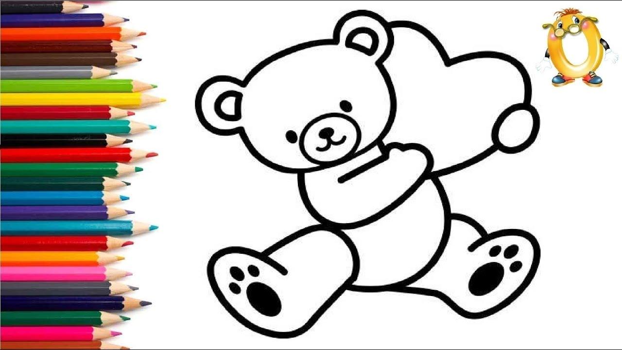 Раскраска для детей МЕДВЕЖОНОК И СЕРДЕЧКО. Мультик ...