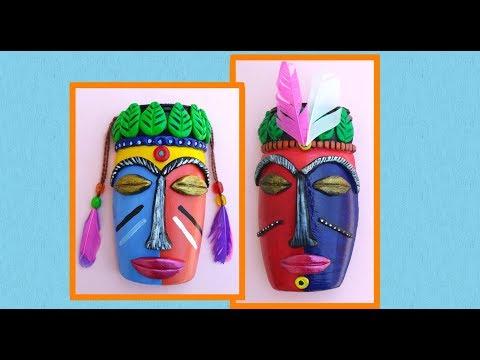 Tribal Mask | DIY Tribal Mask from Plastic Bottle | Waste Plastic Jar Crafts