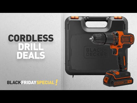 Black Friday Cordless Drill Including: BLACK+DECKER 18 V Lithium-Ion 2-Gear Hammer Drill with Kit