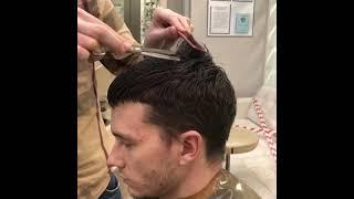 Как филировать волосы в мужской стрижке в теменной зоне