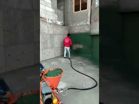 Нанесение известково-цементного раствора станцией со шнековым насосом