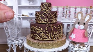 Miniature Edible Ramadan Cake - Simple Indian Arabian Mehndi Henna designs - Mini Food Cooking ASMR