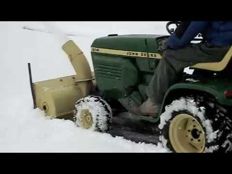 John Deere 318 >> John Deere 214 snowblowing - YouTube