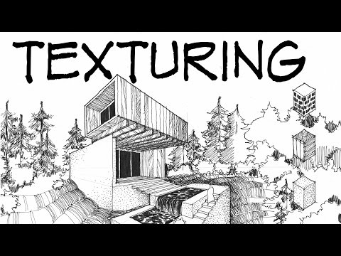 Ink texturing - Architecture Daily Sketches
