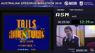 Tails Adventures Any% Speedrun - Live at ASM 2016