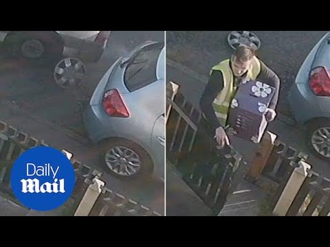 CCTV Catches Yodel Van Scraping Customer's Car Before Delivery - Daily Mail