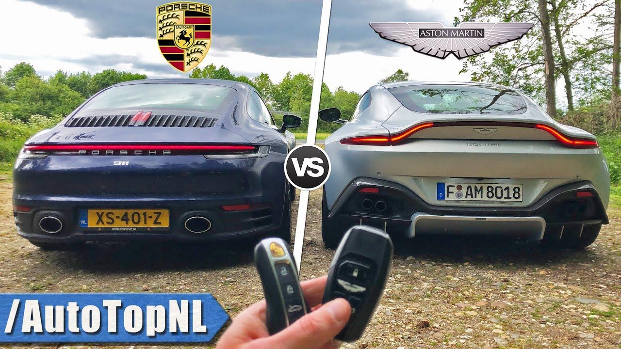 Porsche 911 992 Carrera S Vs Aston Martin Vantage Review Pov On Autobahn By Autotopnl Youtube