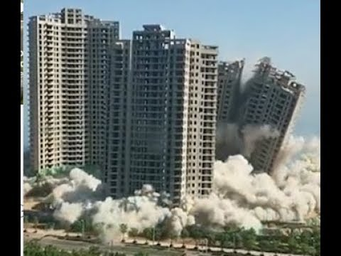 Highly Explosive! 4 Skyscrapers Demolished in China 15 秒!4栋高层海景房爆破