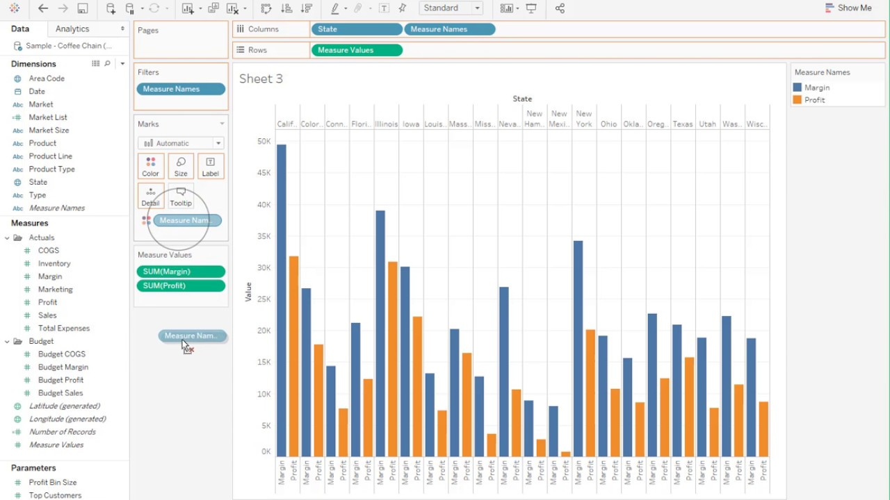 how to create a stacked side by side bar charts in tableau [ 1280 x 720 Pixel ]